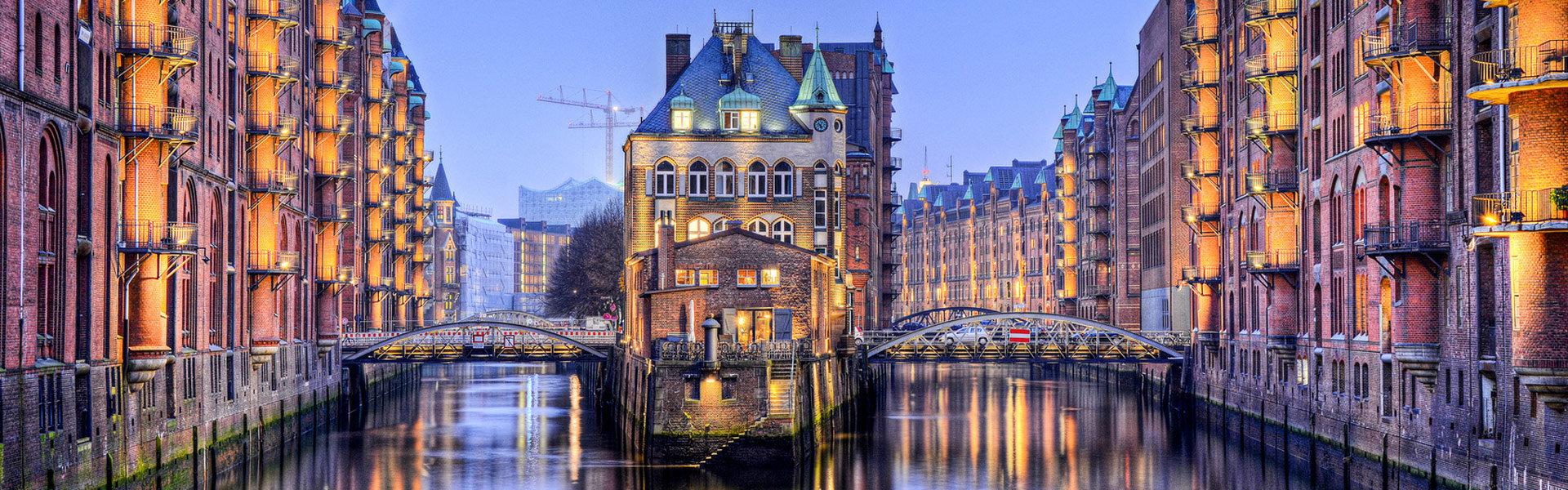 Blick in die Speicherstadt in Hamburg